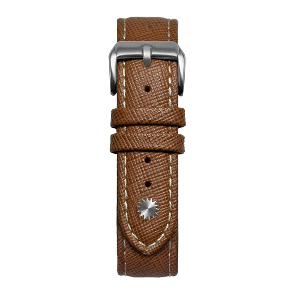16' Brown & White Saffiano Leather Strap