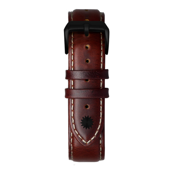 20' Cognac and White Oxford Leather Strap