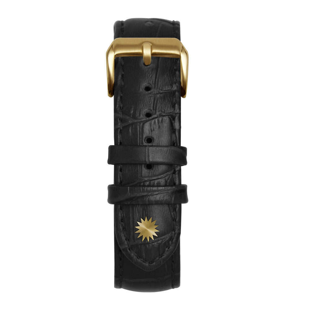 22' Black Bamboo Leather Strap