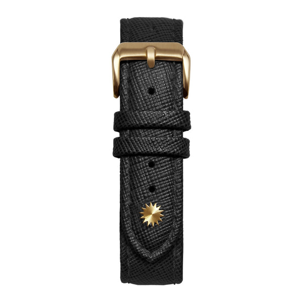 16' Black Saffiano Leather Strap