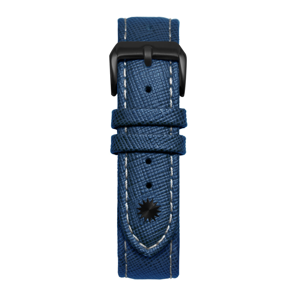 16' Blue & White Saffiano Leather Strap