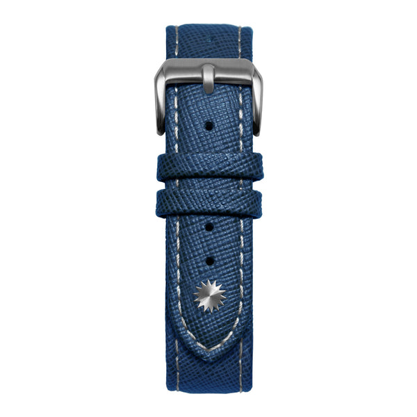 22' Blue and White Saffiano Leather Strap