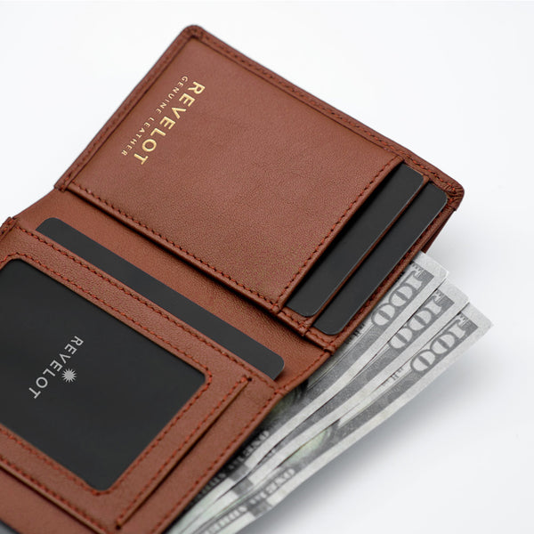 Nappa Brown Unisex Smart Wallet / W5 (Rose Gold Edition)