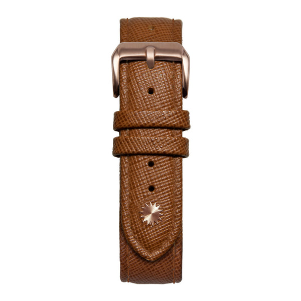 18' Brown Saffiano Leather Strap