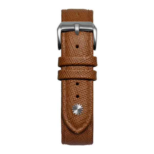 16' Brown Saffiano Leather Strap