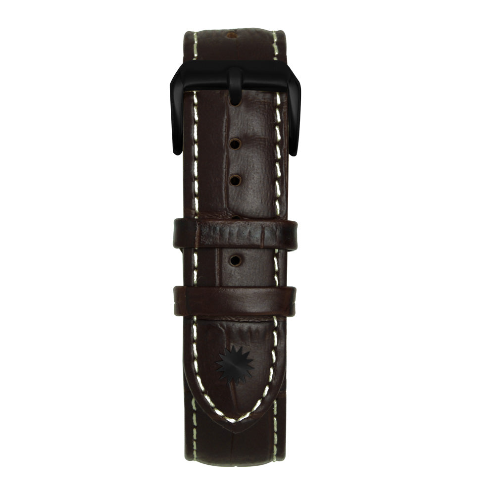 22' Dark Brown and White Bamboo Leather Strap