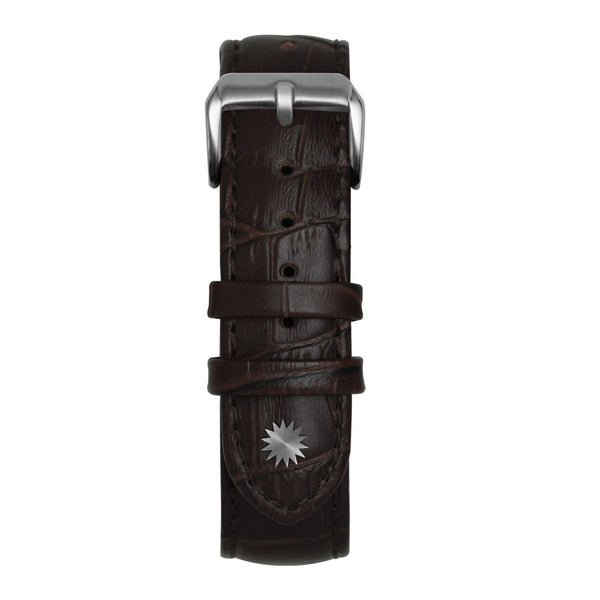 22' Dark Brown Bamboo Leather Strap