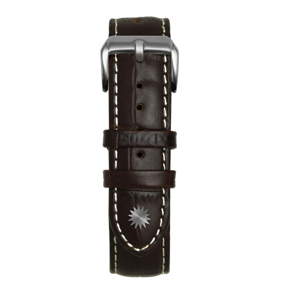 20' Dark Brown and White Bamboo Leather Strap