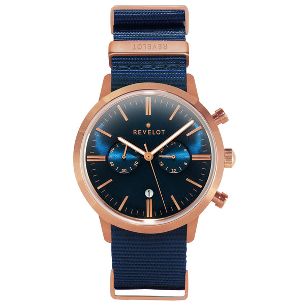 43' Blue/Rose Gold Chronograph - REVELOT