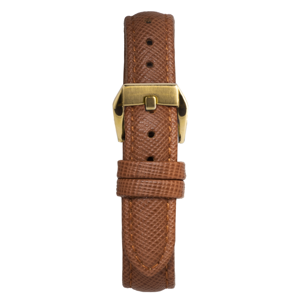 14' Brown Saffiano Leather Strap