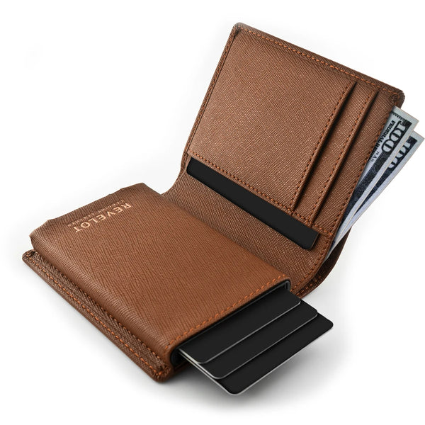 Saffiano Brown Single Men's Smart Wallet