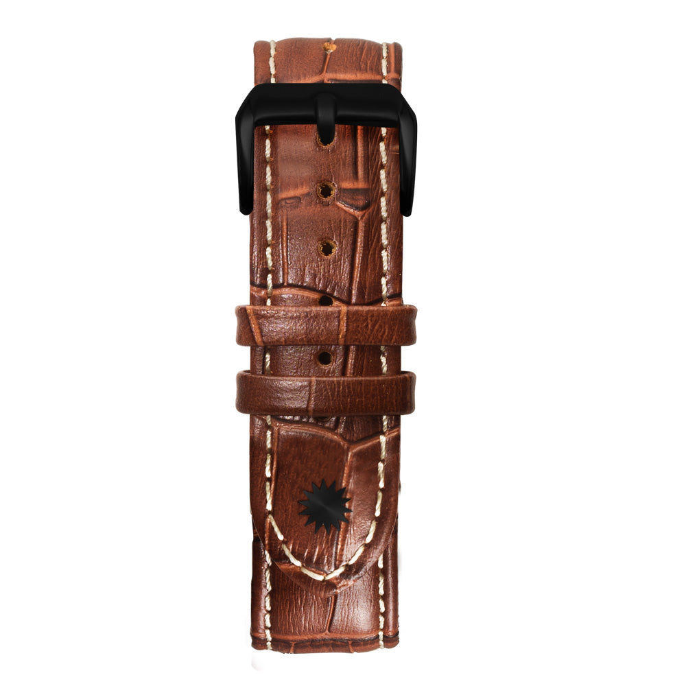 22' Brown and White Bamboo Leather Strap