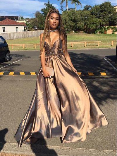 Strap Coffee Satin Chiffon A-line Prom Dresses, New Arrival Affordable Long Prom Dresses, PD0320