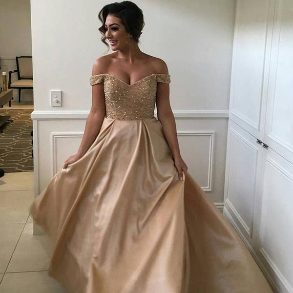Off Shoulder Beaded Long A-line Satin Wedding Guest Dress, Bridesmaid Dresses, WG35