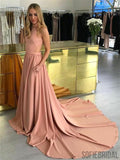 Halter Sleeveless Pockets Long Prom Dresses With Train, PD0049