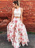 2 pieces Lace Top Floral Prom Dresses, Lovely Prom Dresses, Simple Prom Dresses, Cheap Prom Dresses, PD0353