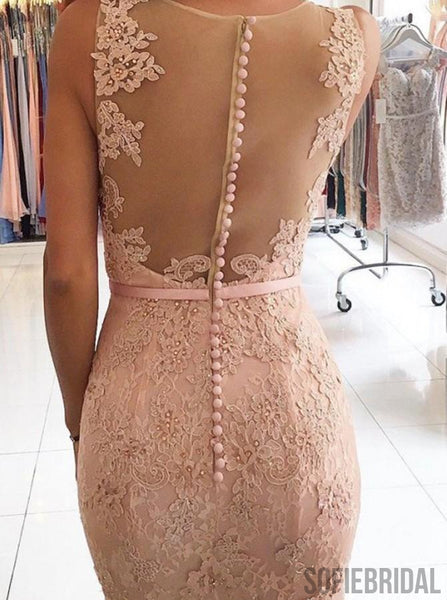 Sleeveless Lace Mermaid Long Prom Dresses, Cheap Prom Dresses , PD0775