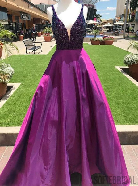 V-neck Beaded Long Prom Dresses, Satin Prom Dresses, A-line Cheap Prom Dresses, PD0712