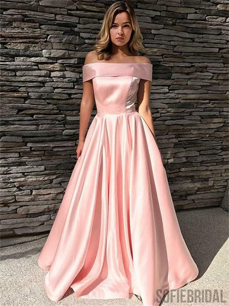 A-line Off-shoulder Zipper Back Simple Cheap Long Pink Prom Dresses, PD0101