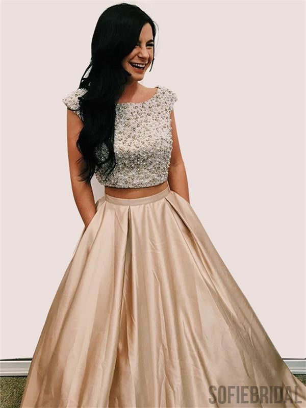 Two Piece Cap Sleeves Open-Back Beading Prom Dress, PD0016