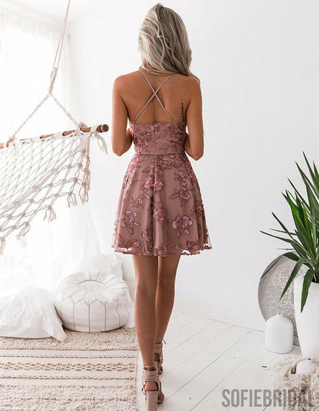 A-Line Spaghetti Straps Appliques Backless Short Homecoming Dress, HD0164