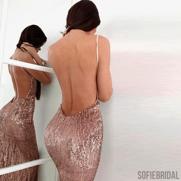 Mermaid Spaghetti Straps Backless Rose Gold Prom Dresses, PD0047