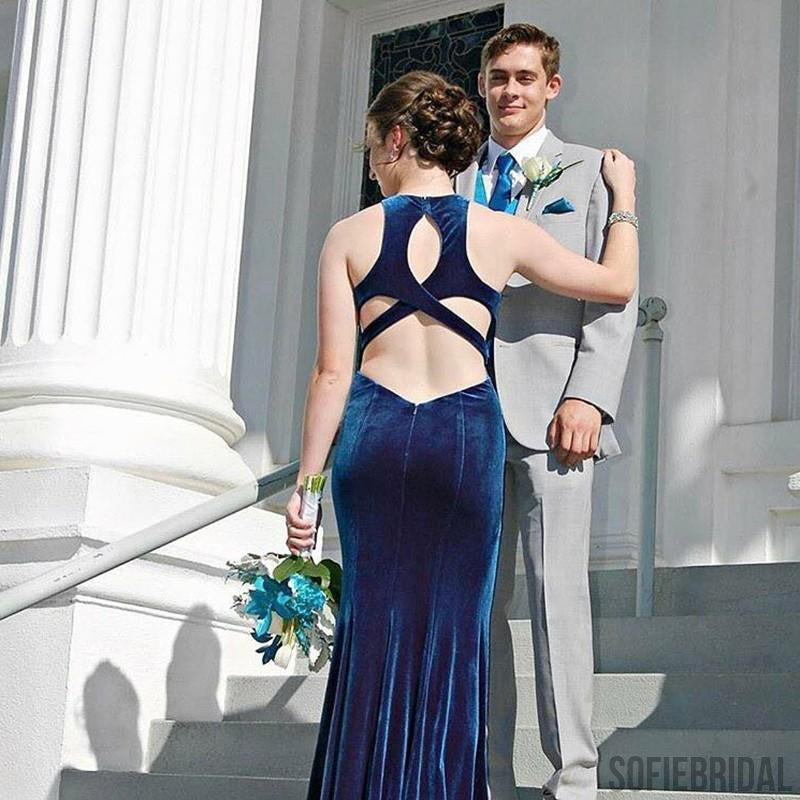 Sexy Mermaid Long Velvet Jewl Back Prom Dresses, PD0846