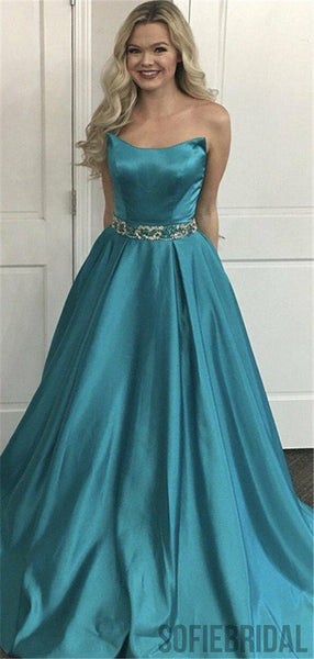 A-line Strapless Simple Cheap Long Prom Dresses With Beading, PD0097
