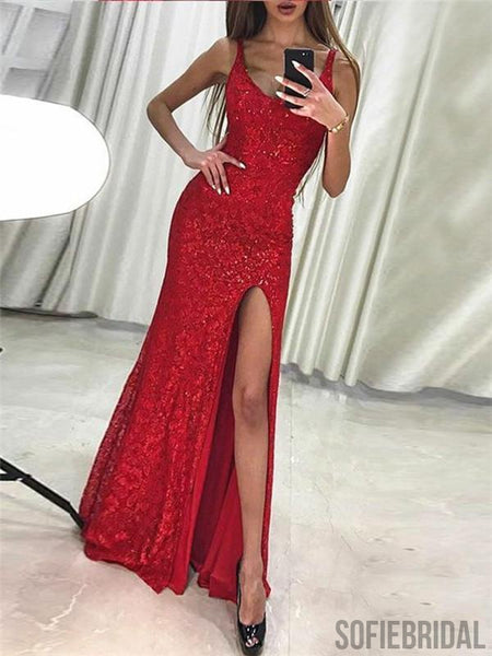 Sheath Bateau Neck Sleeveless Sequins Long Red Prom Dresses With Split, PD0100