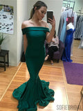 Mermaid Off-shoulder Long Green Prom Dresses With Train, PD0105
