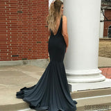 Mermaid Deep V-neck Sexy Black Prom Dresses With Train, PD0086