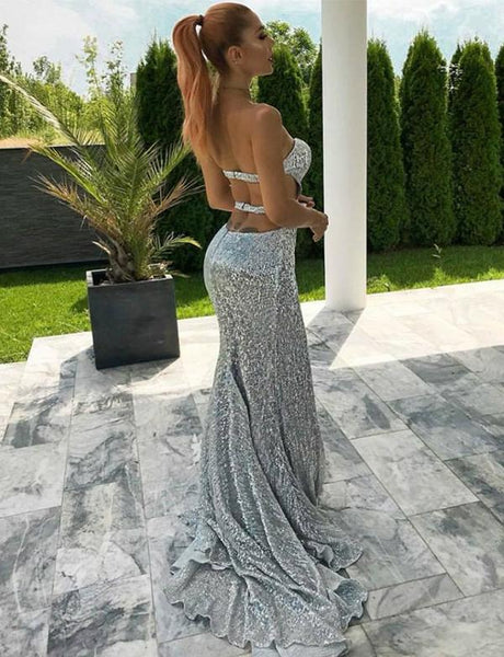 Mermaid Silver Sequins Backless Prom Dresses With Split, PD0075
