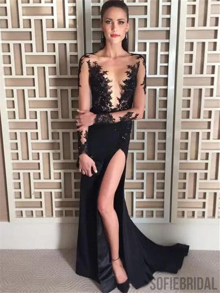 Black Appliques V-neck Long Sleeves Prom Dresses With Split, PD0071