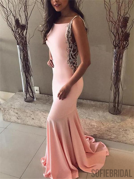 Mermaid Pink Backless Beading Prom Dresses With Train, PD0072