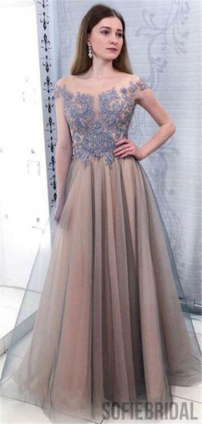 A-line Floor-length Appliques Cap Sleeves Long Tulle Prom Dresses, PD0073