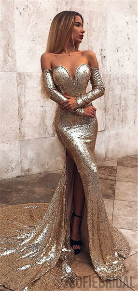 Mermaid Off-shoulder Long Sleeves Full Sequins Split Prom Dresses With Train, PD0104