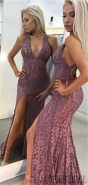 Mermaid V-neck Backless Lace Prom Dresses With Split, PD0074