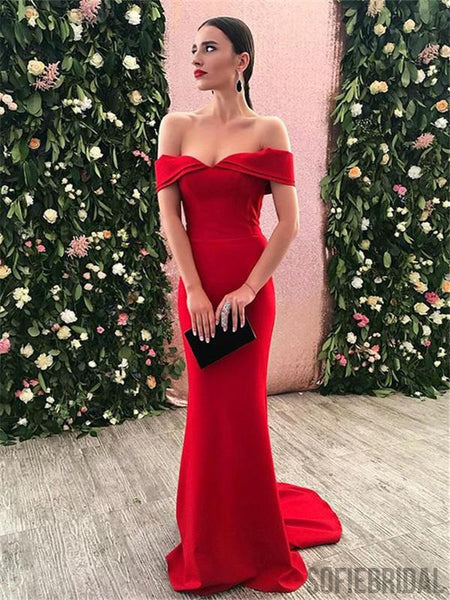 Mermaid Sexy Off-shoulder Red Stain Prom Dresses, PD0089