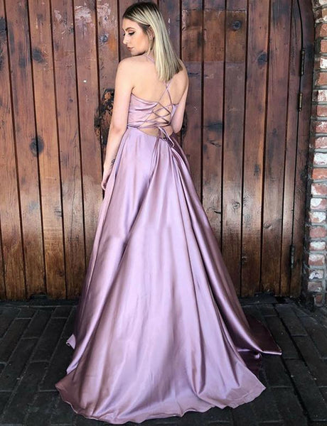A-Line Spaghetti Straps V-neck Long Prom Dresses With Split, PD0070