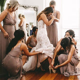 A-line Floor-lrngth V-neck Simple Cheap Bridesmaid Dresses, BD1051