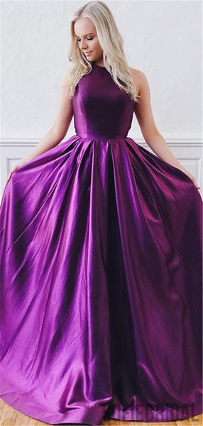 A Line Open Back Purple Long Prom Dresses With Train, PD0085