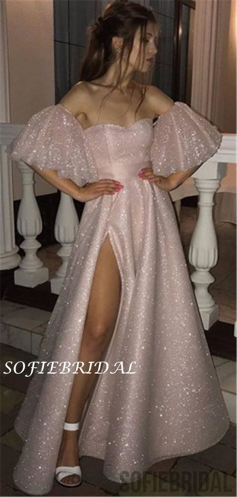 A-line Sweetheart Off-shoulder Saprkly Prom Dresses With Split, PD1042