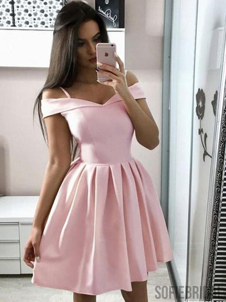 A-line Off-shoulder Pink Satin Simple Cheap Homecoming Dresses, HD0104