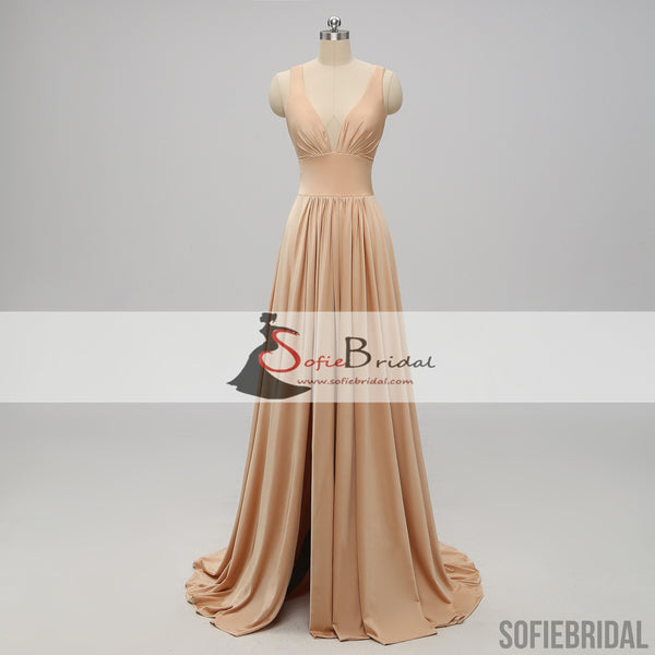 Strap Jersey Side Slit A-line Bridesmaid Dresses, Cheap Bridesmaid Dresses, Long Bridesmaid Dresses, PD0499