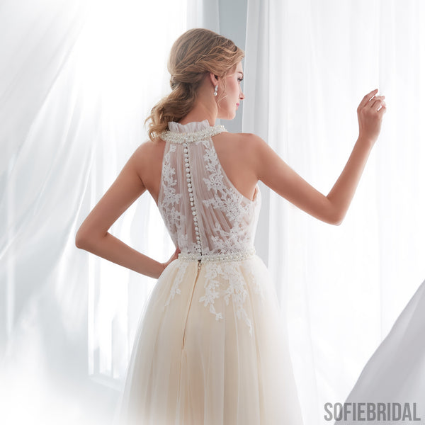 Halter Sleeveless See-though Lace Beading Long Tulle Wedding Dresses, WD0467