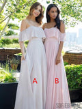 A-line Spaghetti Straps Off-shoulder Chiffon Bridesmaid Dresses, BD1021