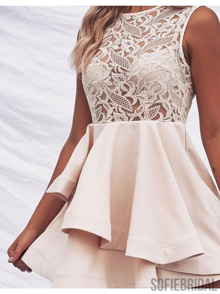 A-line Round Neck See-though Lace Top Short Homecoming Dress, HD0152