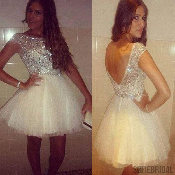 Hot sale popular short sleeve gorgeous open back homecoming prom dresses