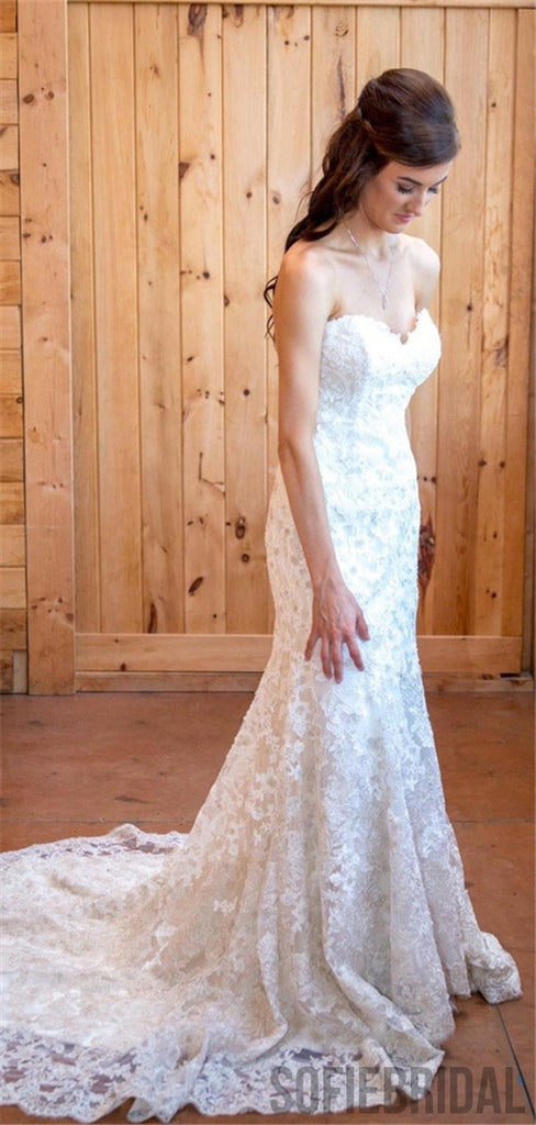 Sweetheart Backless Full Lace Wedding Dresses With Train, WD0472