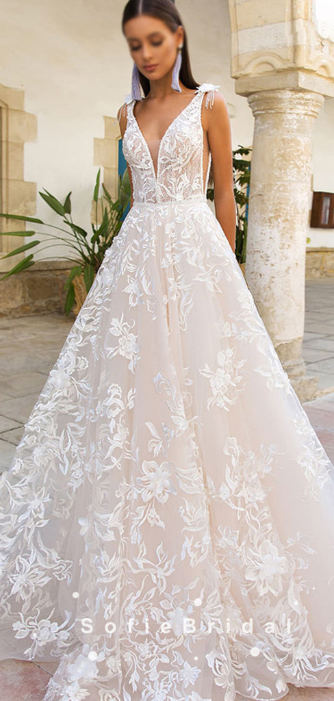 A-Line V-Neck Sleeveless Lace Long Wedding Dresses,SFWD0001